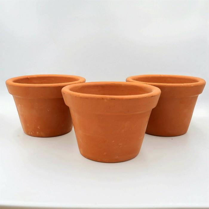Vaso de barro - violeta - 09 x 14 cm - kit 03 unid