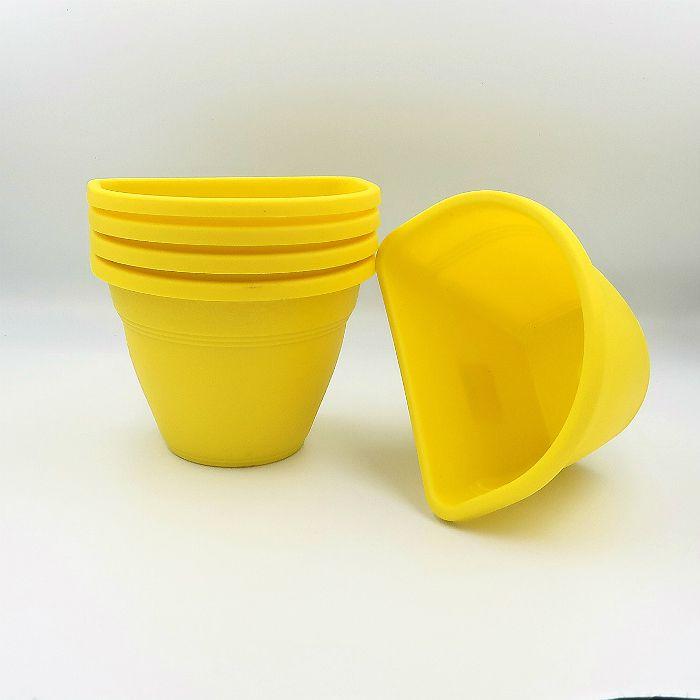 Vaso de parede - amarelo - 11 x 15 cm - Kit 05 un