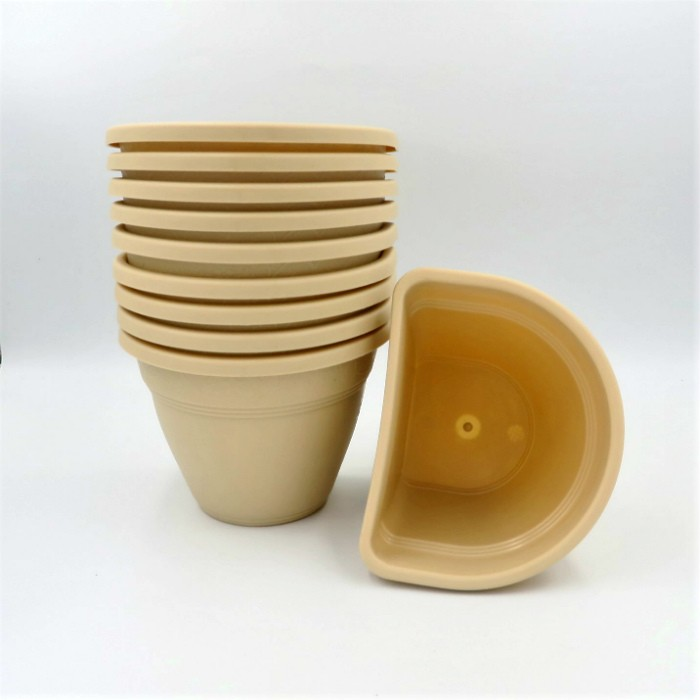Vaso de parede - areia - 11 x 15 cm - Kit 10 unid