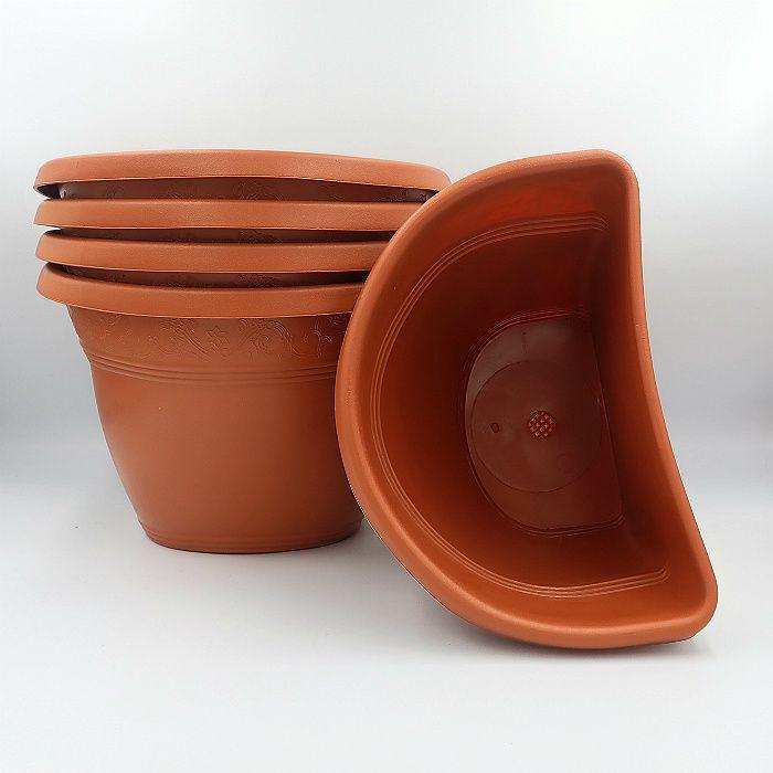 Vaso de parede - ceramica - marrom - 17 x 23 cm - Kit 05 un