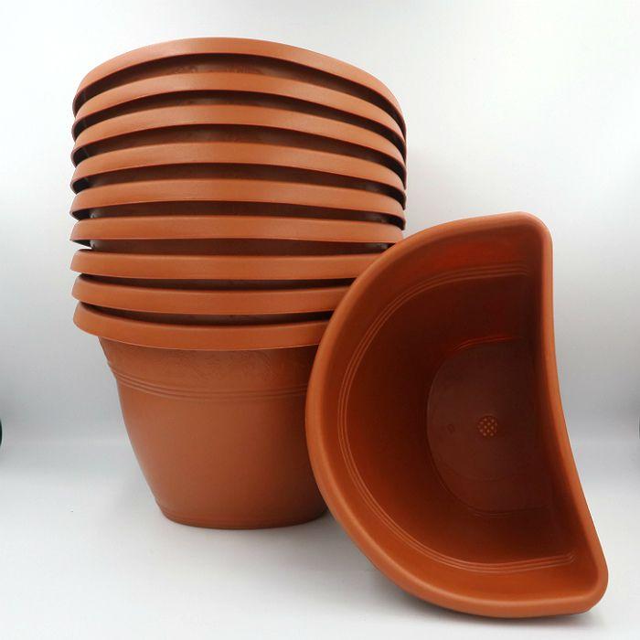 Vaso de parede - ceramica - marrom - 17 x 23 cm - Kit 10 un