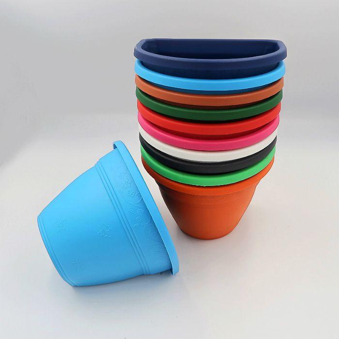 Vaso de parede - colorido - 15 cm - Kit 05 un + brinde