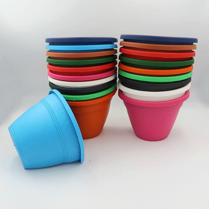 Vaso de parede - colorido - 15 cm - Kit 24 un + brinde