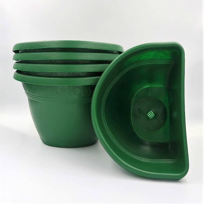 Vaso de parede - verde escuro - 17 x 23 cm - Kit 05 un