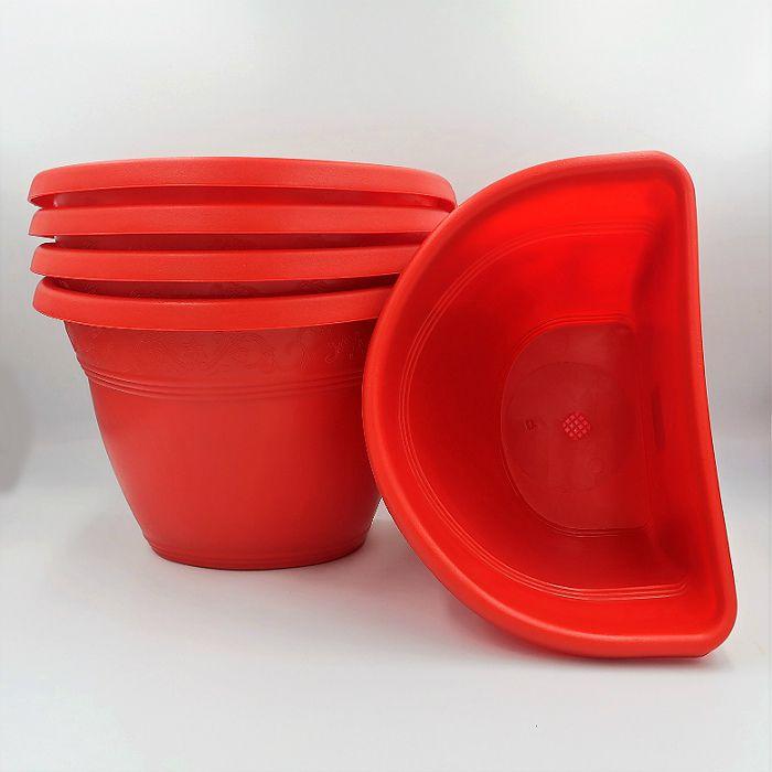 Vaso de parede - vermelho - 17 x 23 cm - Kit 05 un