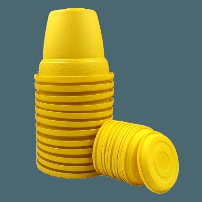 Vaso plástico com prato - amarelo - 10 x 13 cm - kit 12 unid
