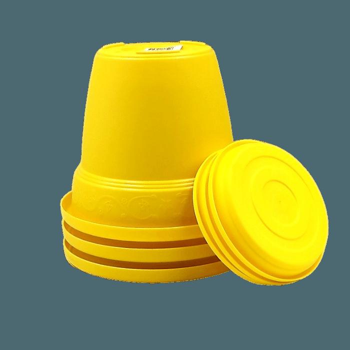 Vaso plastico com prato - amarelo - 16 x 19 cm - kit 03 unid