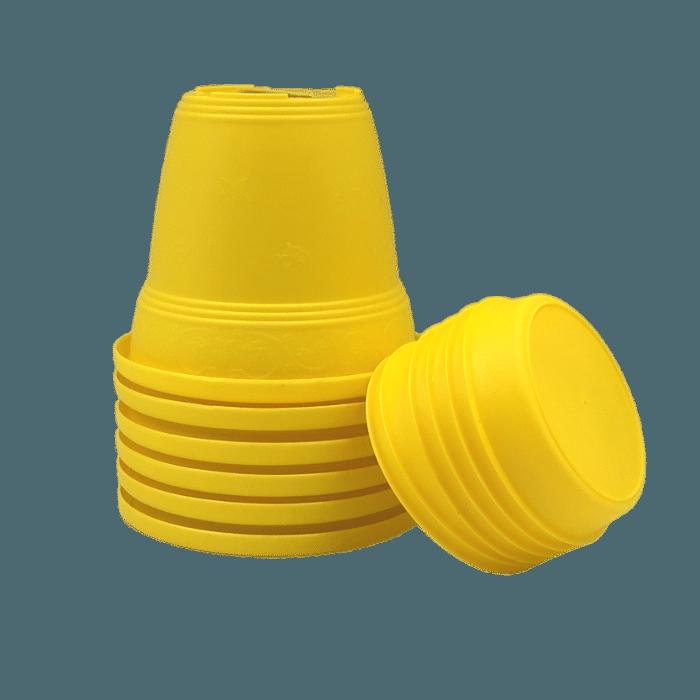 Vaso plastico com prato - amarelo - 16 x 19 cm - kit 06 unid