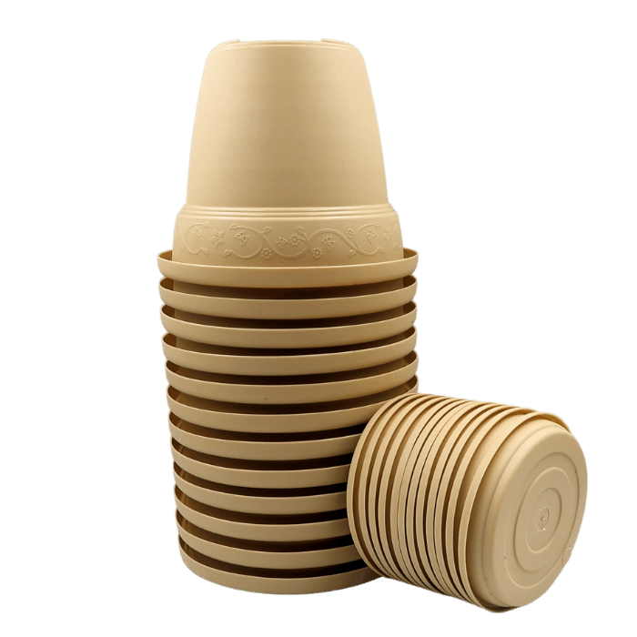 Vaso plástico com prato - areia - 10 x 13 cm - kit 12 unid