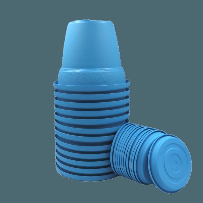 Vaso plástico com prato - azul - 16 x 19 cm - kit 12 unid