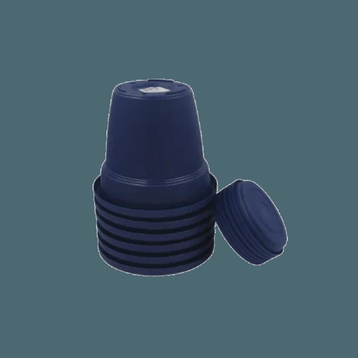 Vaso plastico com prato - azul marinho - 10 x 13 cm - kit 06 unid