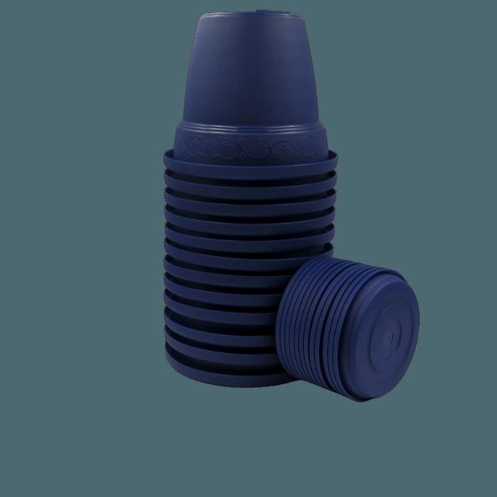 Vaso plastico com prato - azul marinho - 10 x 13 cm - kit 12 unid
