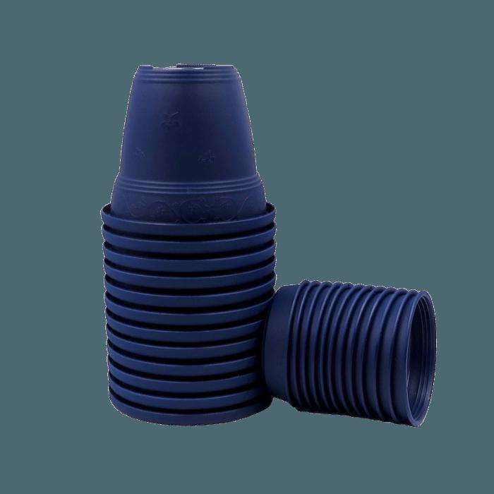 Vaso plástico com prato - azul marinho - 10 x 13 cm - kit 12 unid