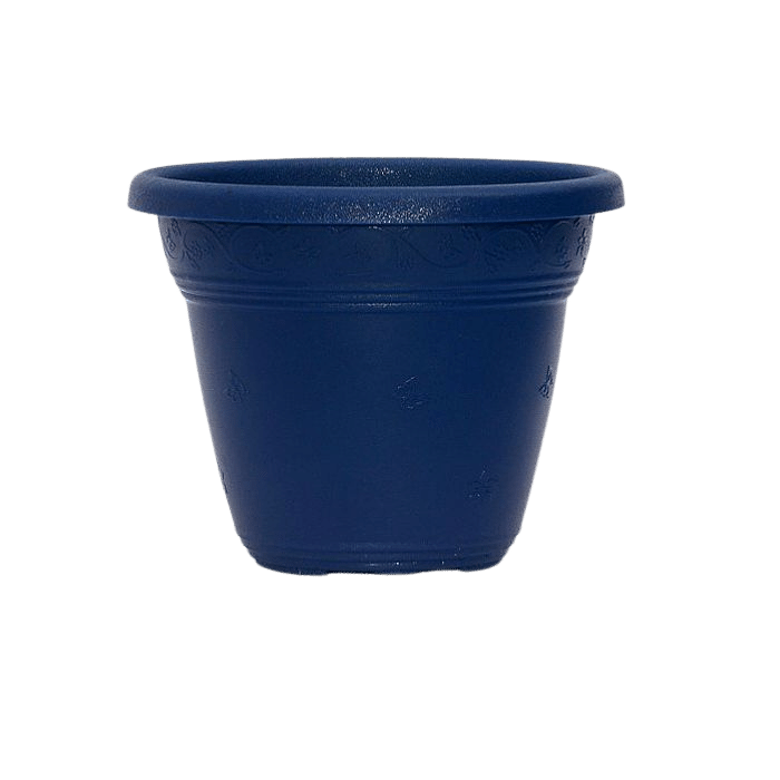 Vaso plástico com prato - azul marinho - 16 x 19 cm - kit 03 unid