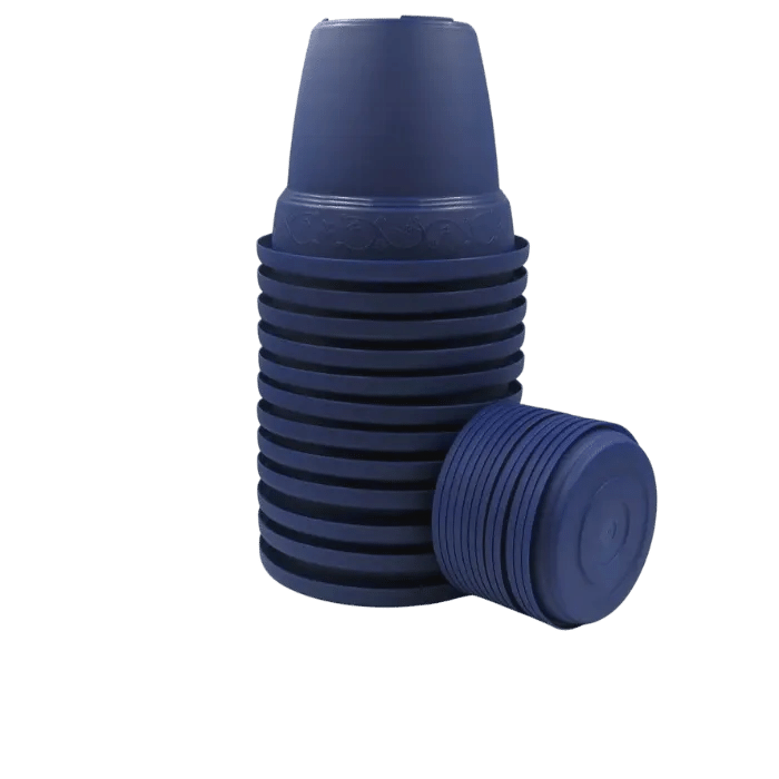 Vaso plastico com prato - azul marinho - 16 x 19 cm - kit 12 unid