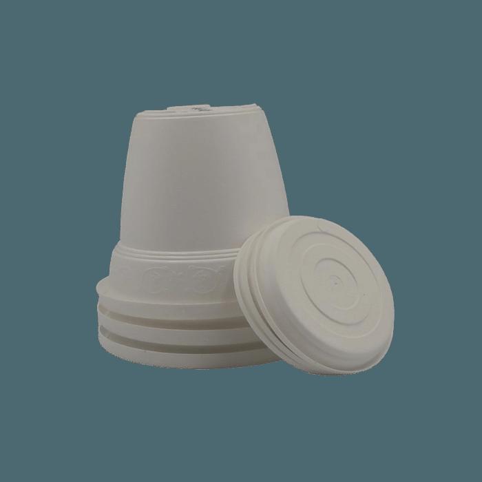 Vaso plastico com prato - branco - 10 x 13 cm - kit 03 unid
