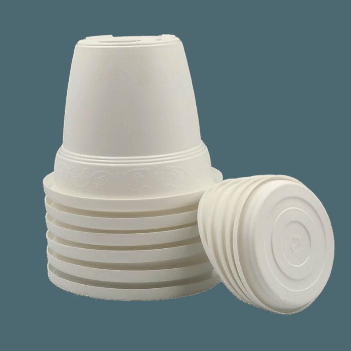Vaso plastico com prato - branco - 16 x 19 cm - kit 06 unid