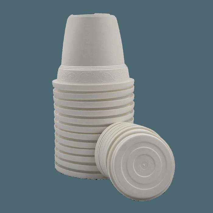 Vaso plástico com prato - branco - 16 x 19 cm - kit 12 unid