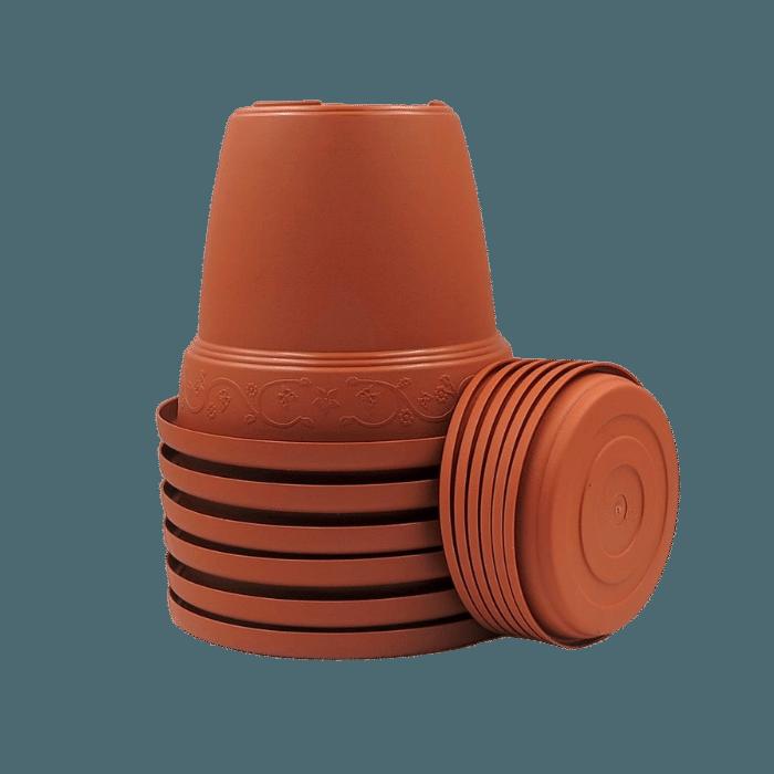 Vaso plástico com prato - ceramica - 10 x 13 cm - Kit 06 unid