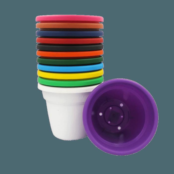 Vaso plástico com prato kit colorido 08x10 cm 24 unid