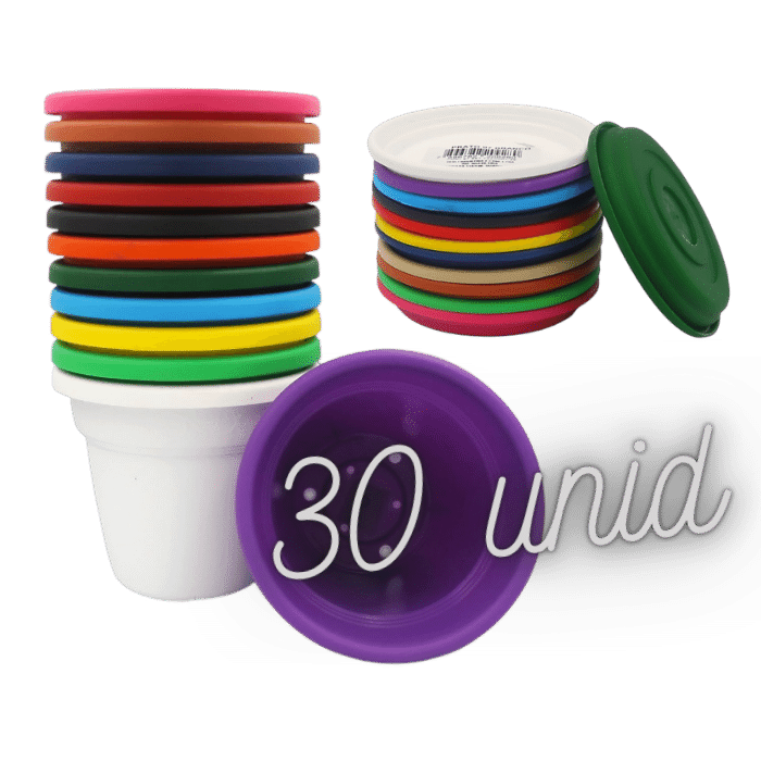 Vaso plástico com prato kit colorido 08x10 cm 30 unid