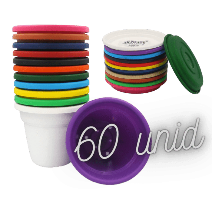 Vaso plástico com prato kit colorido 08x10 cm 60 unid