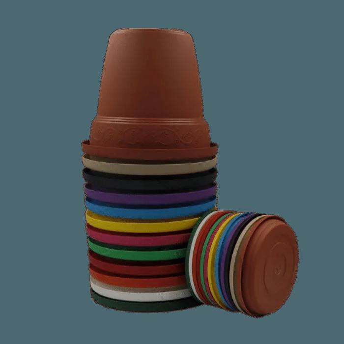 Vaso plastico com prato - kit colorido - 16 x 19 cm - 06 unidades