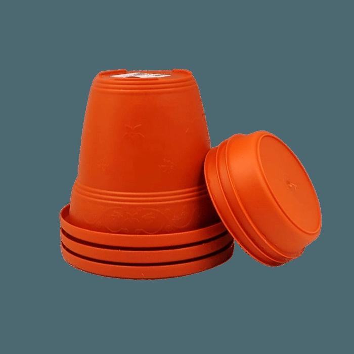 Vaso plastico com prato - laranja - 10 x 13 cm - kit 03 unid