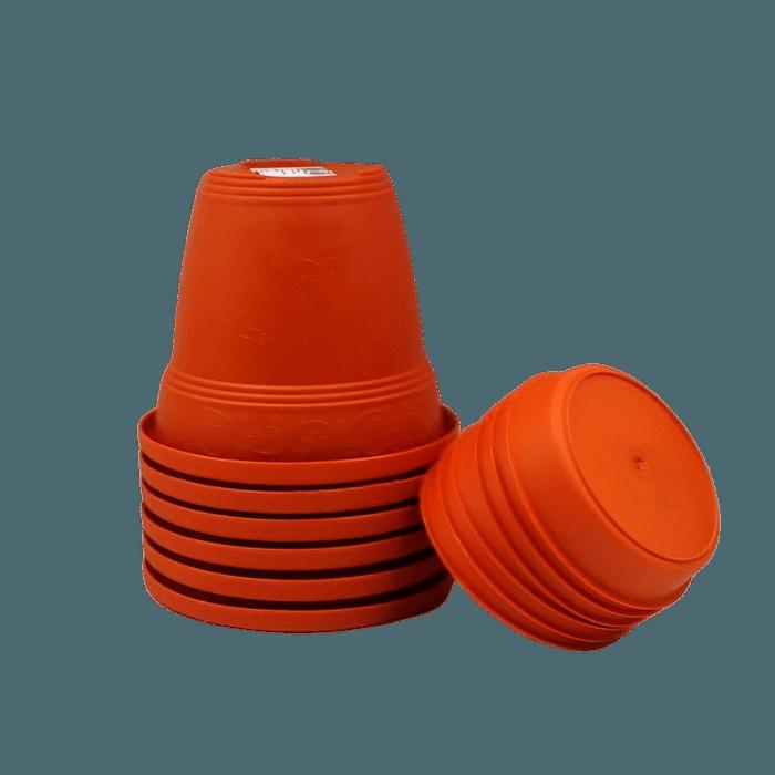 Vaso plastico com prato - laranja - 16 x 19 cm - kit 06 unid