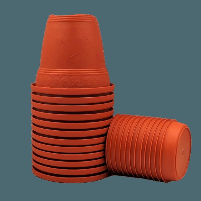 Vaso plástico com prato - laranja - 16 x 19 cm - kit 12 unid