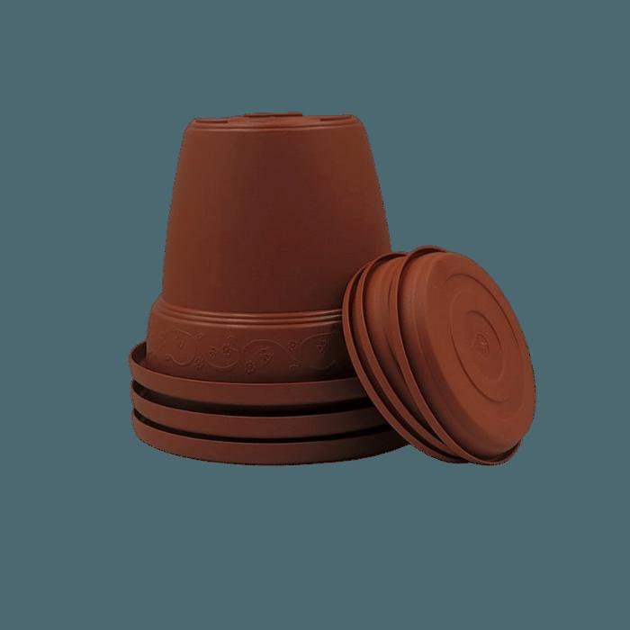 Vaso plastico com prato - marrom - 16 x 19 cm - kit 03 unid