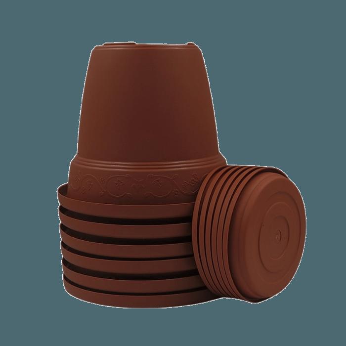 Vaso plastico com prato - marrom - 16 x 19 cm - kit 06 unid