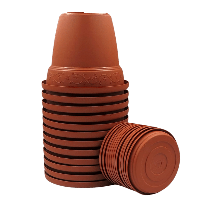 Vaso plástico com prato - marrom - 16 x 19 cm - kit 12 unid