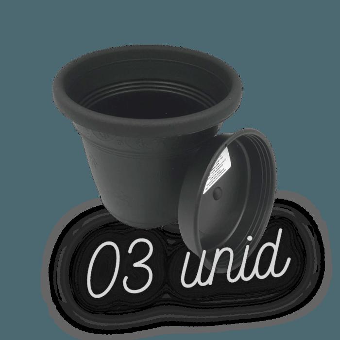 Vaso plastico com prato - preto - 10 x 13 cm - kit 03 unid