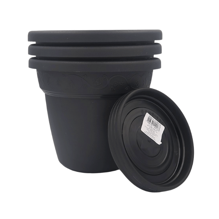 Vaso plastico com prato - preto - 16 x 19 cm - kit 03 unid