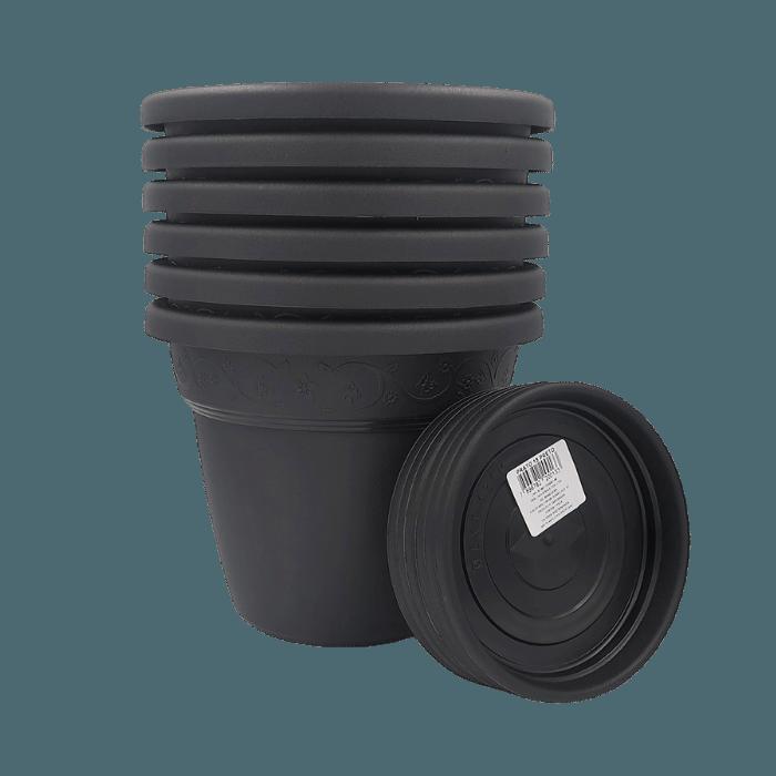 Vaso plastico com prato - preto - 16 x 19 cm - kit 06 unid