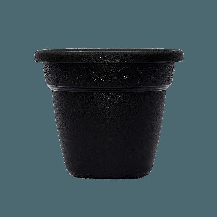 Vaso plastico com prato - preto - 16 x 19 cm - kit 12 unid