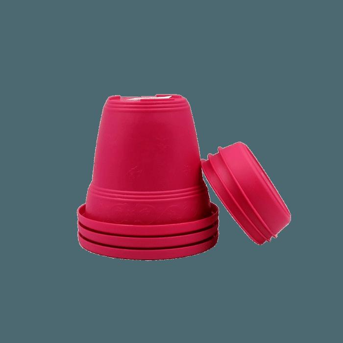 Vaso plastico com prato - rosa - 10 x 13 cm - kit 03 unid