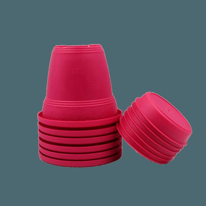 Vaso plastico com prato - rosa - 10 x 13 cm - kit 06 unid