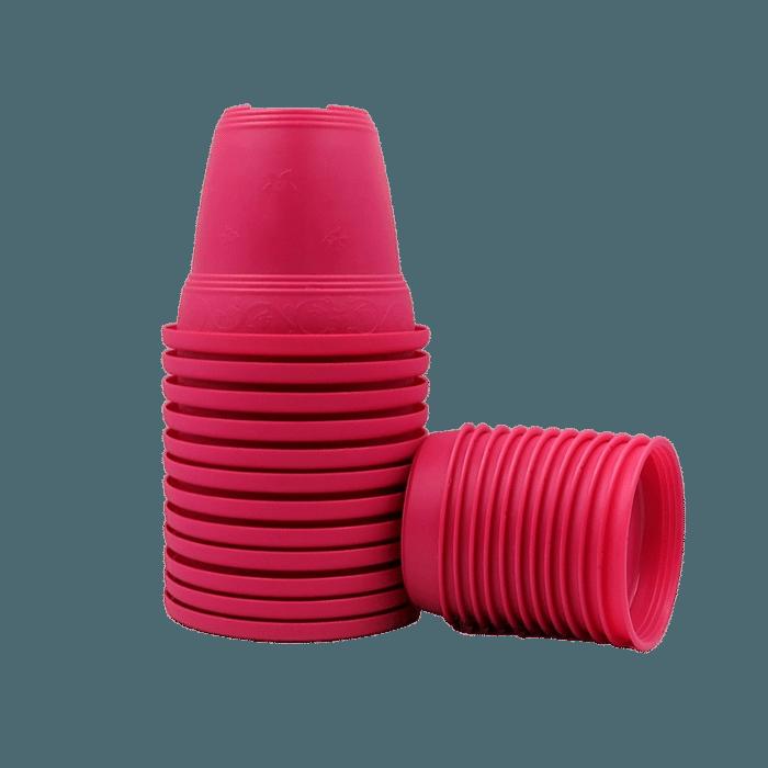 Vaso plastico com prato - rosa - 10 x 13 cm - kit 12 unid