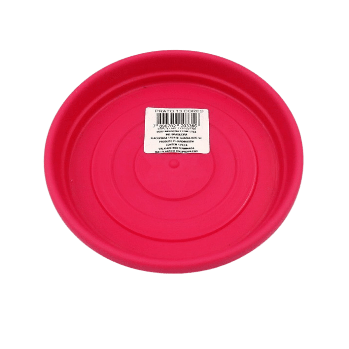 Vaso plastico com prato - rosa - 16 x 19 cm - kit 03 unid