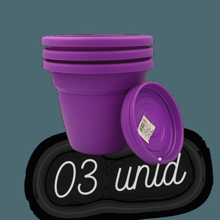 Vaso plastico com prato - roxo - 16 x 19 cm - kit 03 unid