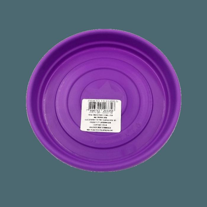 Vaso plastico com prato - roxo - 16 x 19 cm - kit 06 unid