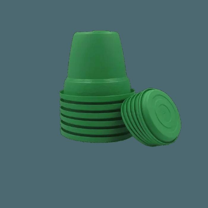 Vaso plastico com prato - verde - 10 x 13 cm - kit 06 unid