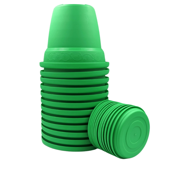 Vaso plástico com prato - verde - 10 x 13 cm - kit 12 unid
