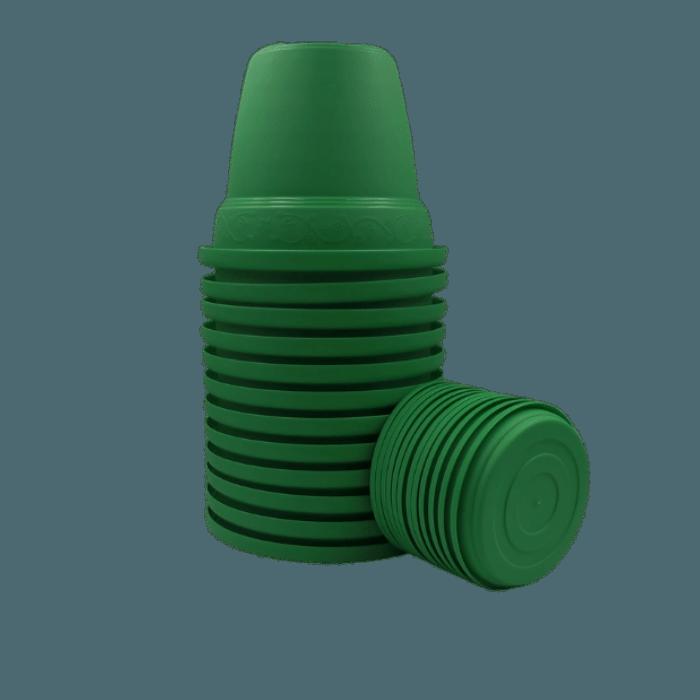 Vaso plastico com prato - verde - 16 x 19 cm - kit 12 unid
