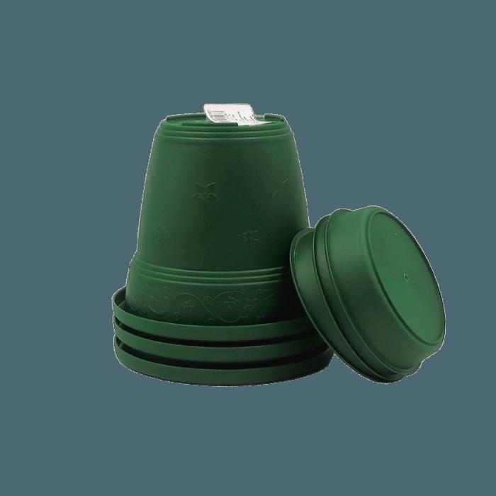 Vaso plastico com prato - verde escuro - 16 x 19 cm - kit 03 unid