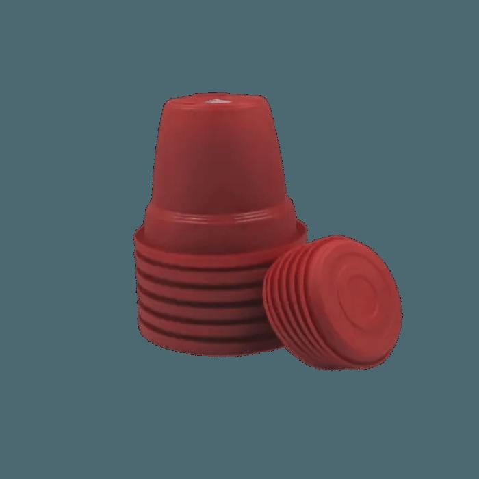 Vaso plastico com prato - vermelho - 10 x 13 cm - kit 06 unid