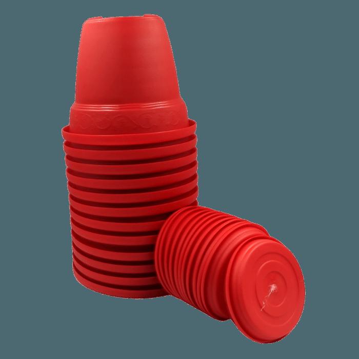 Vaso plastico com prato - vermelho - 10 x 13 cm - kit 12 unid
