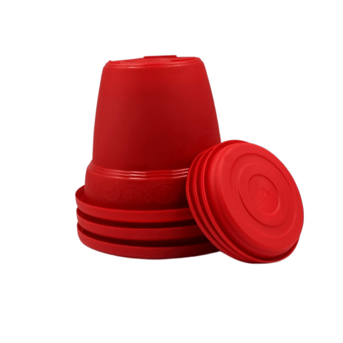 Vaso plastico com prato - vermelho - 16 x 19 cm - kit 03 unid